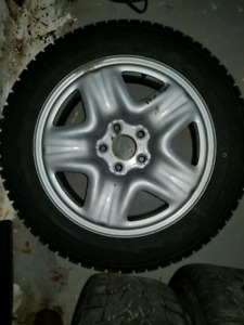 4 slightly used winter wheels and tires 225/65 R17, 5x114.3 bcd
