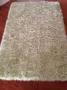 Green shag area rug