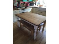 Pine dinning table and 2 benches
