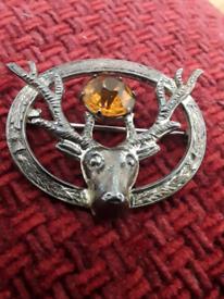 Stirling Silver stag brooch