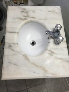 Marble top and sink with tap