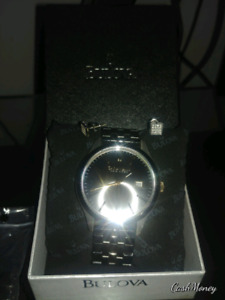 Caravelle Gild and Black watch and Diamond earings