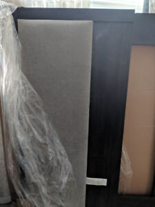 Brand New In Box Ashwood and Grey Microfibre Queen Headboard
