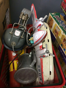 Car Parts and Lot of old Toys and Vintage Car Paper.
