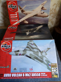 Airfix set of 3 V Bombers,Vulcan,Victor and valiant 1:72 model kits