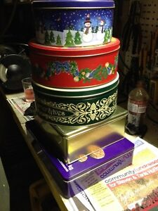 storage tins, cookie tin cans