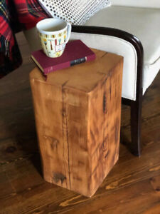 Large Barn Beam Block Side Table 100 year Old Sanded Sealed