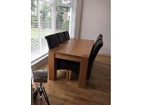 Dinning chairs x 6 high back scroll leather