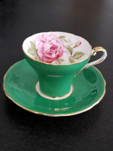 Vintage Aynsley Large Rose Corset Teacup And Saucer