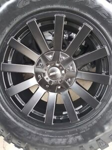 4 NEW DCENTI WHEELS WITH NEW GOODYEAR DURATRACS LT325/60/20