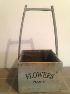 Vintage Style Wood Flower Box, Metal Flower Pot , Saucers