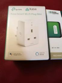 Kasa Smart Wi-Fi Plug Slim. And the Rush Charge Trident Recharger