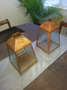 Pair of Large Metal Hinged Lanterns with Handles