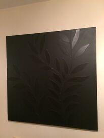 Black canvas hanging wall art