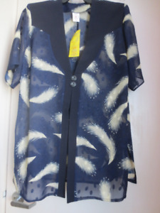 PLUS SIZE 3pc DRESSY OUTFIT NAVY BLUE & CREAM
