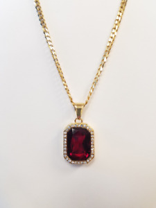 "24"" 18K Gold Plated 1mm Cuban Chain w/CZ Red Ruby Pendant"