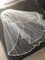 Silk trimmed wedding veil with blusher