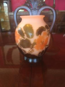 Émile Gallé Cameo Pink/Amber Glass Vase