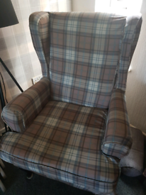 Checked arm chair