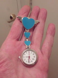 NURSE, CAREGIVERS WINGED HEART CLIP ON POCKET WATCH