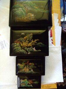 SET OF 4 VINTAGE JAPAN ASIAN HAND PAINTED LACQUER NESTING