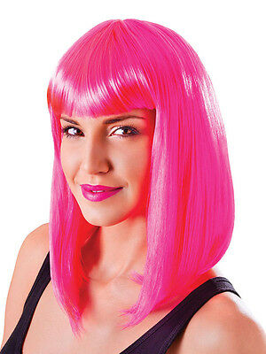Pink Long Bob Wig Nikki Minaj Celebrity Style 80s Chick Fancy Dress Accessory