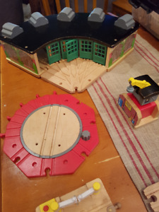 Thomas the Tank Engine Wooden Roundhouse, Trains and Accessories