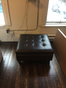 Faux Leather Storage Ottoman in Excellent Condition