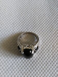 Mens  Obsidian Sterling Silver Ring