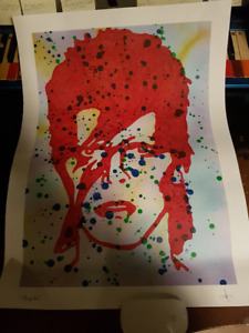 David Bowie Red With Splatter on 18 x 24 Quality Paper ART ORIGL