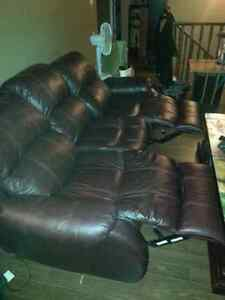 3 piece leather reclining living room set Strathcona County Edmonton Area image 5