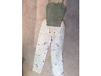 Beautiful Silk Evening Trousers with Beading and Beaded Cashmere Top size 8-10