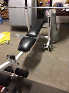 Banc du musculation avec poids/Bench of the body-building