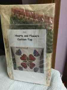 Hearts and flowers cushion top