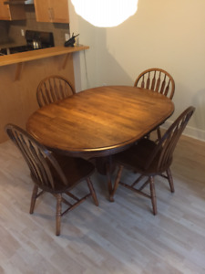 Hardwood dining table and chairs