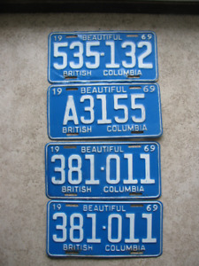 British Columbia License Plates 1968 to 1978 Good Condition..