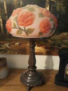 TABLE LAMPS (2) PAIRPOINT Reverse-Painted Rose
