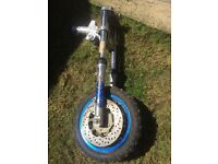 Dirt bike front wheel and forks