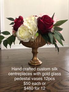 Wedding centrepieces GOLD PEDESTAL VASE with silk flowers