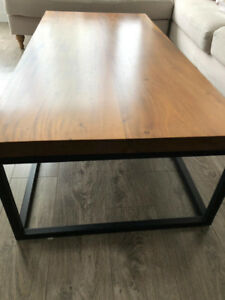Coffee Table - solid wood top and metal base