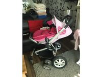 Quinny buzz carrycot (grey) pushchair (pink) maxi cosy car seat (grey blue)