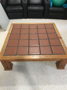 Antique ceramic tile large coffee table