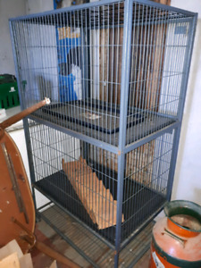 Two level metal animal cage
