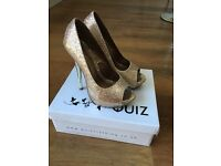 Quiz gold high heel prom shoes