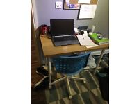 Great quality wooden desk with metal legs.