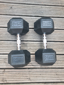 25kg Hex Steel Dumbbells