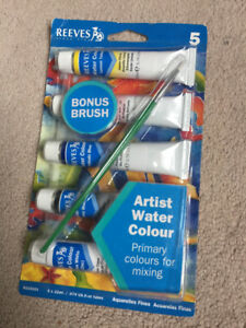 Reeves 5 Water Colour Paints & Paint Brush - Unopened Packaging