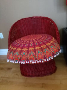 VINTAGE 60-70s BOHO RATTAN WICKER CHAIR POD