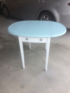 Drop Leaf side table with end drawer