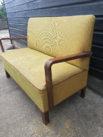 Vintage retro antique Danish wooden yellow bench 2 seater sofa couch
